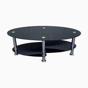 Ovaler Mid-Century Tisch mit schwarzen Glasplatten & Chrom