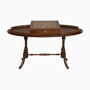 20th Century Regency Style Oval Walnut Chess Game Table with 2 Drawers