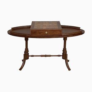 Table de Jeu d'Échecs Style Régence Ovale en Noyer avec 2 Tiroirs