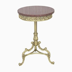 19th Spanish Bronze & Brass Gilted Side Table with Red Marble Top