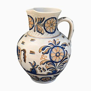 Blue and Yellow Painted & Glazed Earthenware Continental Talavera Urn