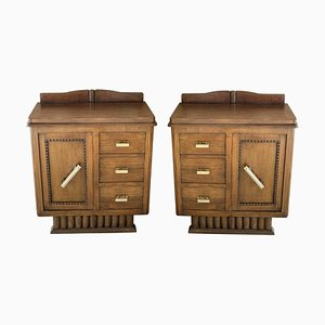 Spanish Art Deco Heavily Hand-Carved Bedside Tables or Nightstands, 1920s, Set of 2