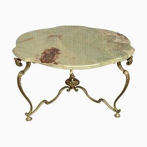19. Grüner Onix Kleeblatt Tisch mit Bronze Tischbeinen