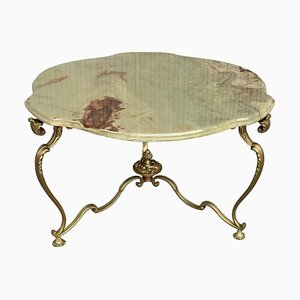 19th Green Onix Clover Form Top & Bronze Legs Coffee Table