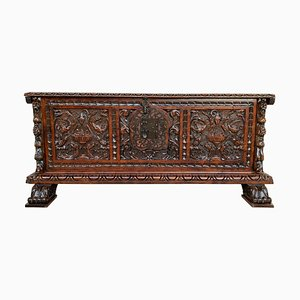 Catalan Baroque Carved Walnut Cassone or Trunk, 18th Century