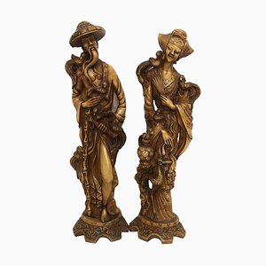 Vintage Chinoiserie Male and Female Statuary of Good Luck, Set of 2
