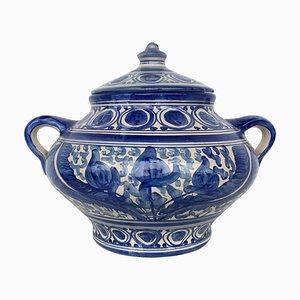 20th Century Spanish Blue & White Painted Glazed Earthenware Urn or Vase