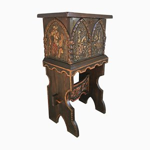 20th Century Carved and Polichromed Cabinet Bar on Stand Varqueno, Spain
