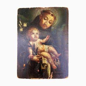 Original Öl auf Holz Tafel von St. Antonius von Padua