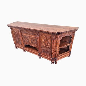 Antique Japanese Hand-Carved Elmwood Cabinet or Sideboard, Meiji, 20th Century