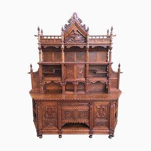 Antiker handgeschnitzter Japanesse Schrank oder Sideboard aus Ulmenholz, Meiji, 20. Jh