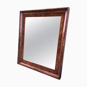19th Antique Bevelled Frame Burl Mahogany Mirror