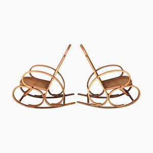 20th Century Bentwood and Reed Seats Rocking Chairs, Set of 2