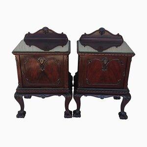 George III Walnut Nightstands with Glass Top and Door, Set of 2