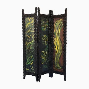 20th Century Arts & Crafts Folding Screen or Room Divider with Handpainted Decoration
