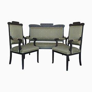 20. Französisches Schwarzes Sofa und Zwei Armlehnstühle, 3er Set