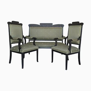 20th Black French Sofa and Two Armchairs, Set of 3