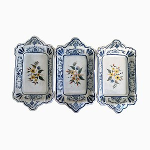 20th Century Trays in Blue and Yellow Ceramic, Spain, Set of 3