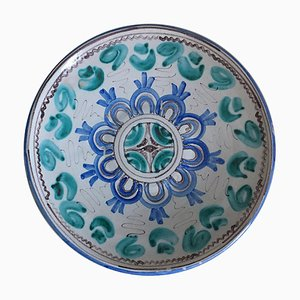 Mid-Century Blue and Green Ceramic Dish with Geometrical Motifs