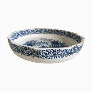 20th Century Spanish Bowl in White and Blue by La Cartuja De Sevilla