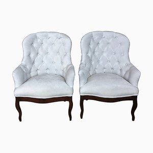 19th Century Louis XV Bergère Armchairs in White Velvet