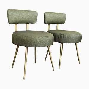 Mid-Century Green and Gilded Round Stools, Set of 2