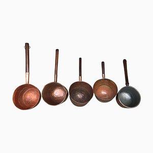 Pentole antiche in rame forgiato e fatte a mano, Spagna, set di 5