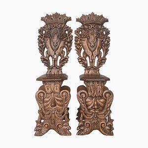 18th Century Italian Renaissance Lion Carved Walnut Hall Chairs, Set of 2