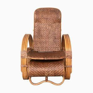 20th Century Adjustable Bentwood and Rattan Chaise Longue with Ottoman