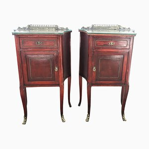 20th Century Nightstands with Glass Top and Bronze Crest, Set of 2