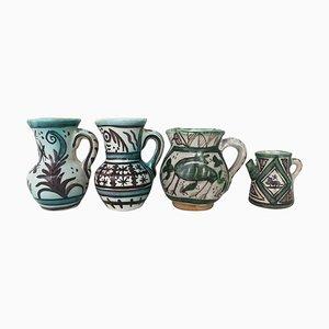 19th Century Glazed Terracotta Vases in Green & White, Set of 4