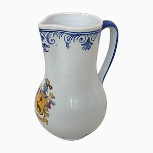 20th Century Glazed Earthenware Blue & White Painted Pitcher by Talavera