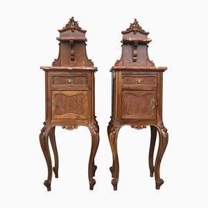 Solid Oak Bedside Cabinets with Marble Top & Drawer, Set of 2