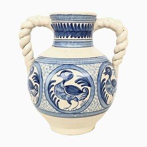 20th Century Glazed Earthenware Spanish Blue & White Painted Vases