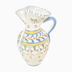 19th Century Glazed Earthenware Floral Painted Pitcher