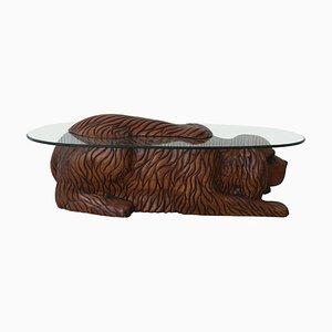 Geschnitzter Tisch mit lebensgroßem Hund, 20. Jh