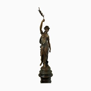 Spanish Bronze Lady Sculpture Attributed to Fundicion Barbedienne