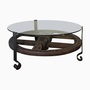 Wooden Wagon Wheel Industrial Accent Spanish Table with Glass Top