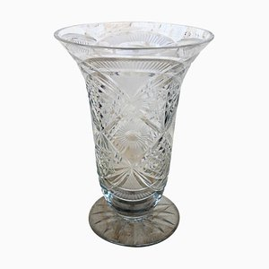 20th Century Etched Carved Glass Vase