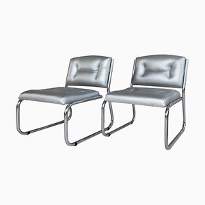 Art Deco Tubular Chrome Lounge Chairs in Silver Faux Leather, Set of 2