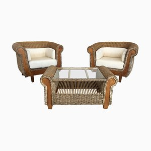 Mid-Century Armchairs with Coffee Table in Rattan and Wood, Set of 3