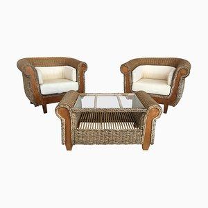 Mid-Century Sessel mit Couchtisch aus Rattan & Holz, 3er Set