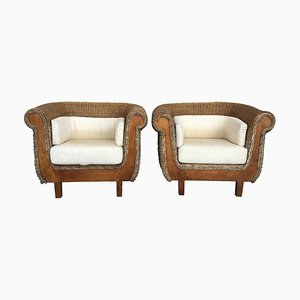 Mid-Century Rattan and Wood Lounge Chairs, Set of 2