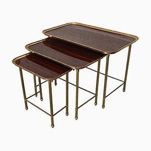 19th Century Nesting Tables in Brass and Mahogany, France, Set of 3