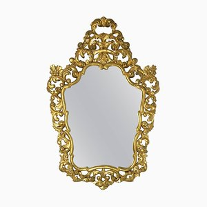 19. Französischer Rechteckiger Spiegel mit Rahmen aus geschnitztem & vergoldetem Holz