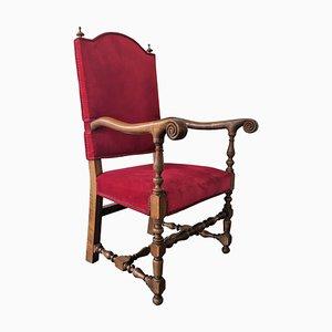 Louis XIII Thron Armlehnstuhl aus rotem Samt, 19. Jh