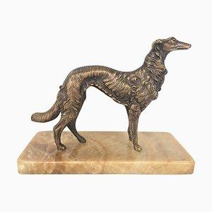 19th Century French Silver Patinated Bronze Borzoi