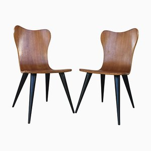 Mid-Century Arne Jacobsen Style Chairs with Black Tapered Legs, Set of 2