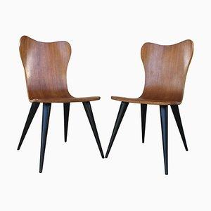 Sedie Mid-Century in stile Arne Jacobsen con gambe affusolate nere, set di 2