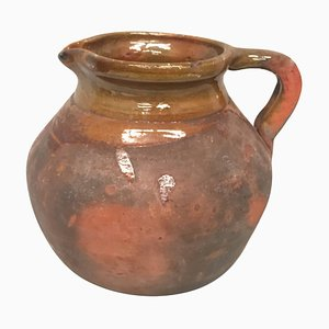 Spanischer Steingut Krug oder Topf mit Griff, 19. Jh